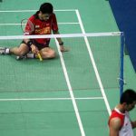 Down and out: Indonesia's Taufik Hidayat (right) celebrates after beating India's Kashyap Parupalli 21-12, 10-21, 21-17 in the first singles yesterday. Indonesia won 3-0 to reach the semi-finals.