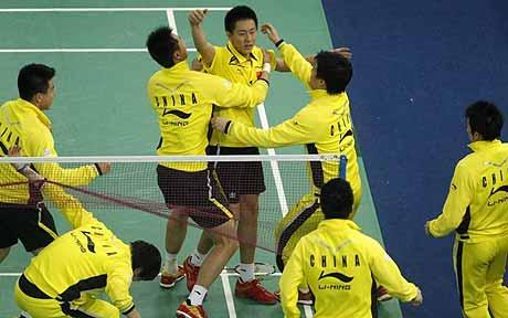 Happy days: China celebrate Thomas Cup win in Malaysia