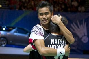 Tontowi Ahmad and Liliyana Natsir celebrate following their victory over Thomas Laybourn and Kamilla Rytter Juhl during the mixed doubles final of the All England Open Championships at the National Indoor Arena in Birmingham on Sunday.