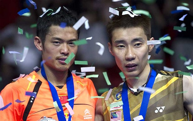 Shuttle run: All England Open Champion Lin Dan of China (left) with Lee Chon Wei of Malaysia