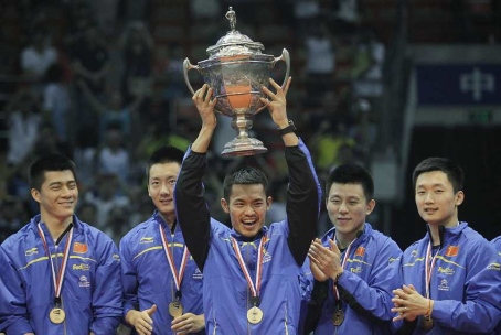 China retained the Thomas Cup in convincing style by beating arch-rival South Korea 3-0 at the Wuhan Sports Complex Gymnasium here today.