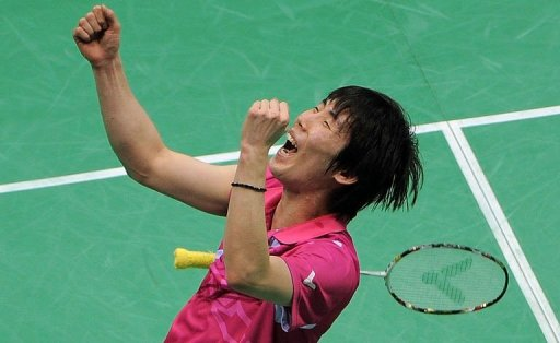 Wan Ho Shon of Korea reacts after defeating Malaysian badminton player Lee Chong Wei
