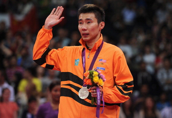 Lee Chong Wei of Malaysia with his Silver medal on the podium after the Men's Singles Badminton Gold Medal match at London 2012 Olympic Games