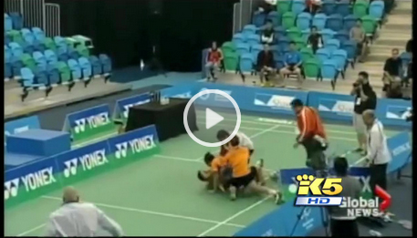 Bodin Issara lunging at his ex-partner Maneepong Jongjit and chasing him around the court, then onto a neighboring court before repeatedly punching him and kicking him on the ground.