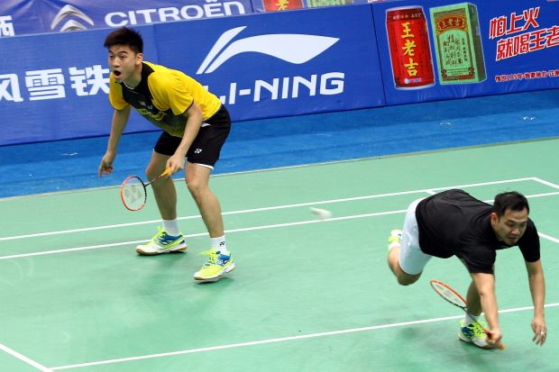 Men's pair Koo Kien Keat-Tan Boon Heong during a training session at the Tianhe Gymnasium. The world No.2 have been given a free ride into the third round following the withdrawal of three other pairs.