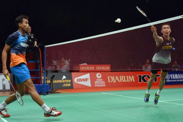 Lee Chong Wei (right) and Dionysius Hayom Rumbaka at the Djarum Indonesia Open in June earlier this year.