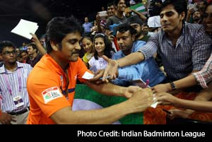 Indian Badminton League - Telugu movie star Nagarjuna, co-owner of the Mumbai Masters, looked pleased as punch and enjoyed his time with the fans and supporters at the Siri Fort Sports Complex.