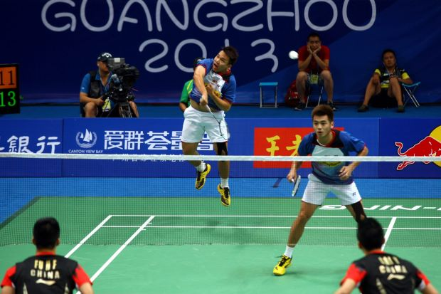 Hoon Thien How (left) and Tan Wee Kiong in action at the World Champs in China in August. They're back there with Koo Kien Keat-Tan Boon Heong for the China Open which starts on Tuesday.