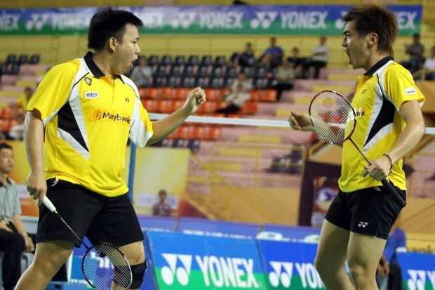 Hoon Thien How-Tan Wee Kiong in a file photo. The pair pulled off a surprise win by defeating Denmark's Mathias Boe-Carsten Mogensen 25-23, 21-15 in the first round of the China Open.