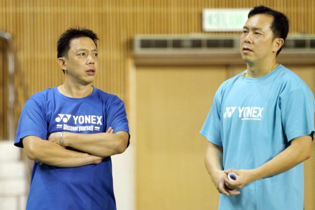 Paulus Firman talking to Tan Kim Her (right) in a January file photo. Kim Her is to have a dual role with BAM – as an assessor as well as a doubles coach.