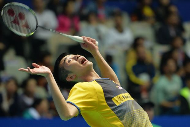 Chong Wei Feng seen here in action in the second round of the China Open. He produced his best result of the year by reaching the semi-finals but his Chinese opponent Chen Long proved too strong to overcome, losing in straight sets on Saturday.