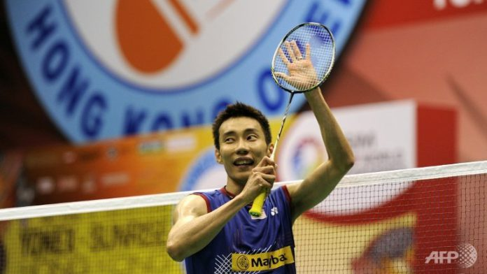 Lee Chong Wei of Malaysia celebrates after winning the men's singles final match against Sony Dwi Kuncoro of Indonesia at the Hong Kong Open badminton tournament. Lee won 21-13, 21-9.