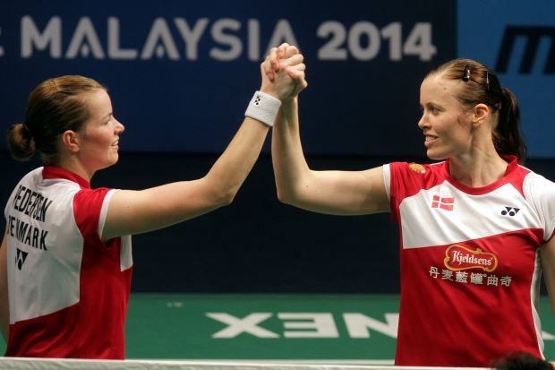 Denmark's world No. 2 women's pair of Christinna Pedersen-Kamilla Rytter Juhl. They were all smiles after finally getting the better of world champions Wang Xiaoli-Yu Yang for the first time.