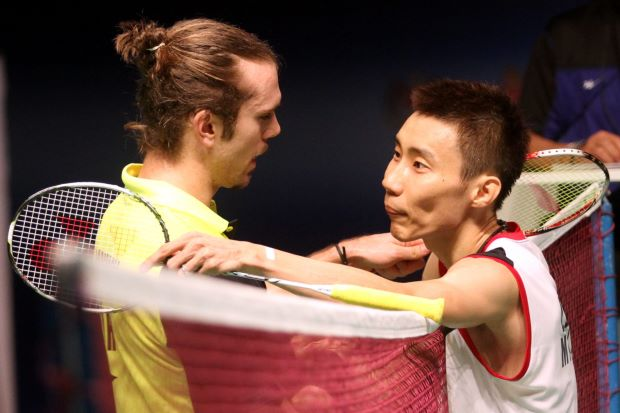 Jan O Jorgensen (left) of Denmark feels that only China's Chen Long can dislodge Malaysia's Lee Chong Wei (right) from the world No.1 ranking.