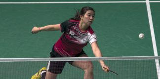 Bae Yeon-ju in action against 16-year-old Akane Yamaguchi of Japan in the Maybank Malaysian Open quarter-finals. Yeon-ju won 21-15, 21-16.