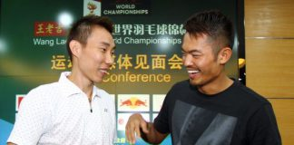 Lee Chong Wei and Lin Dan (right) in a file photo. The long-time rivals will be pairing up to play as a doubles pair against Cai Yun-Fu Haifeng of China in an exhibition match.
