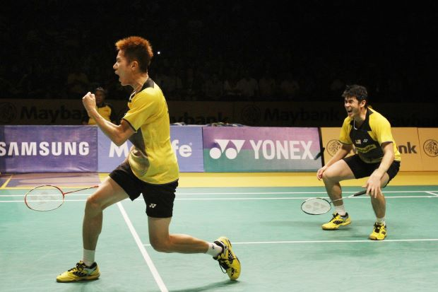 Goh V Shem (left) and Lim Khim Wah in a file photo. They disposed of Hong Kong's Chan Yun Lung-Lee Chun Hei 22-20, 23-21 in the first round of the German Open.
