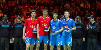Biao Chai/Wei Hong beat Haifeng Fu/Nan Zhang in two sets and win the men's doubles final with 22:20 and 21:14.