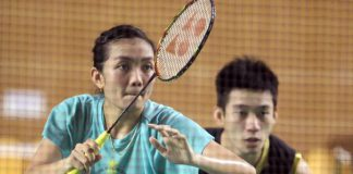 Lai Pei Jing (front) and partner Chan Peng Soon in training last month. They will face defending champions and reigning world champions Tontowi Ahmad-Liliyana Natsir of Indonesia in the first round of the All-England.