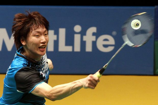 Lee Dong-keun in a file photo. He beat Nguyen Tien Minh of Vietnam in the first round of the All-England, 17-21, 21-16, 21-16.