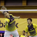 It's the end of the road for Hoon Thien How (left) and Tan Wee Kiong in the All-England, losing to their Indonesian opponents in straight sets in the quarter-finals on Friday.