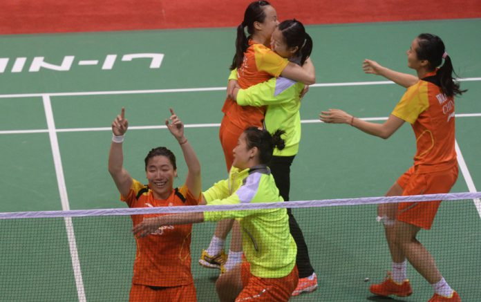 China in celebration after winning its 13th Uber Cup