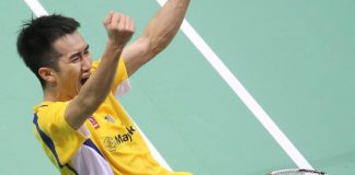 Malaysian Chong Wei Feng celebrates after defeated Rumbaka Dionysius Hayom of Indonesia in the Thomas Cup semi-final.