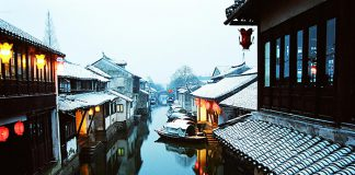 Kunshan, a scenic and beautiful city of watery villages in southeast Jiangsu Province, China