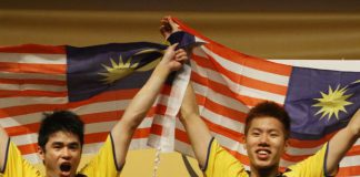Lim Khim Wah (left) and Goh V Shem are the 2014 Malaysian Open men's doubles champions