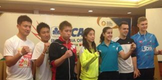 At Indonesia Open Press Conference - Cai Yun, Kento Momota, Kenichi Tago, Wang Shixian, Carolina Marin, Chris Adcock, Viktor Axelsen