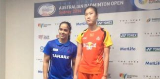 Saina Nehwal (left) and Sun Yu at post match press conference
