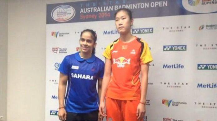 Saina Nehwal (left) and Sun Yu at post match press conference