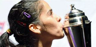Saina Nehwal with the Australian Open Super Series Title in Sydney on Sunday