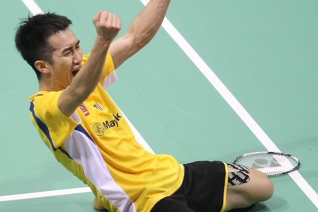 Malaysian Chong Wei Feng celebrates after winning againts Rumbaka Dionysius Hayom of Indonesia during the Thomas Cup in May.