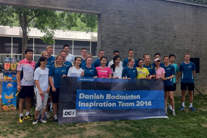 The Danish Badminton Inspiration Team plays a friendly match with Chinese badminton lovers selected from social media platforms Weibo and Wechat on the outdoor badminton courts at the Danish Embassy in Beijing