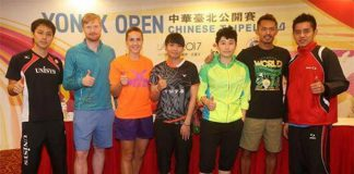 Press Conference (from left) - Takuma Ueda,Henri Hurskainen,n/a, Tai Tzu Ying, Yu Yang, Lin Dan, Simon Santoso