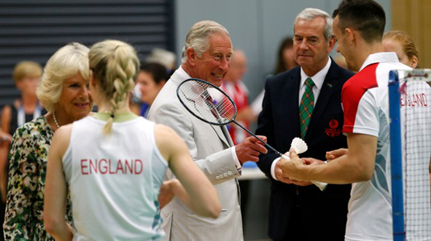 Prince Charles and Camilla, Duchess of Cornwall, were chatting with Chris and Gabby Adcock of the England badminton team during a visit to the Commonwealth Arena and Velodrome in Glasgow. Credit: Reuters
