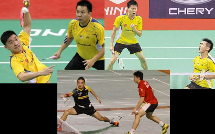 Possible partnerships: Tan Boon Heong-Hoon Thien How (top left), Goh V Shem-Tan Wee Kiong (top right), Lim Khim Wah - Ow Yao Han (bottom)