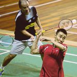 Hendrawan trains with Lee Chong Wei