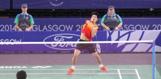 Derek Wong plays Parupalli Kashyap in the men' singles final at Glasgow Commonwelath Games