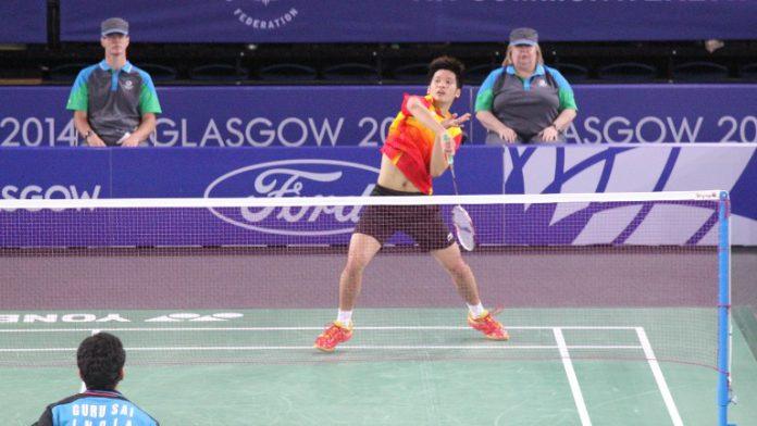 Derek Wong plays Parupalli Kashyap in the men' singles final at Glasgow Commonwelath Games