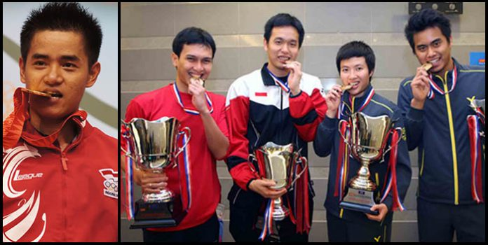 Simon Santoso, Mohammad Ahsan, Hendra Setiawan, Liliyana Natsir dan Tontowi Ahmad have pulled out from World Championships (from left)