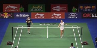 Lai Pei Jing-Tan Aik Guan and Chris Adcock - Gabby Adcock are warming up before the match