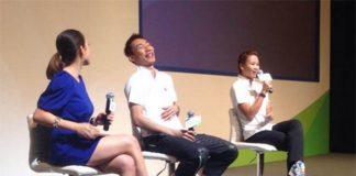 Lee Chong Wei and Pandelela Rinong (right) during the Samsung Asian Games media conference.