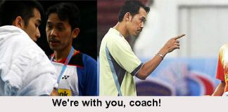 Chong Wei Feng (left) and Daren Liew are standing behind their coach