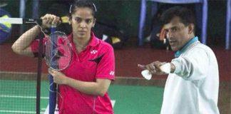 Saina Nehwal and her new coach Vimal Kumar at a training session
