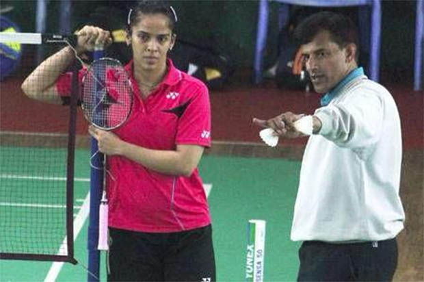 Saina Nehwal and her new coach Vimal Kumar at a training session