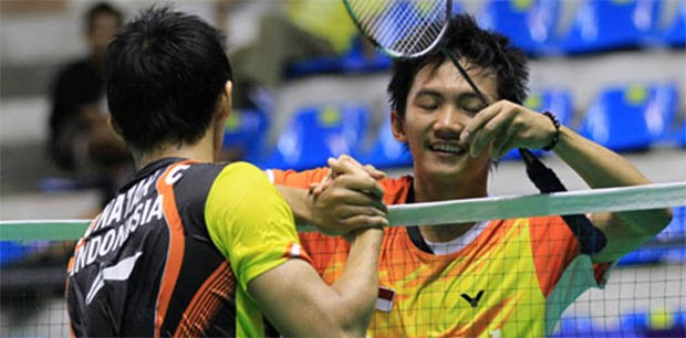 Two Indonesia singles players wrap up their training at Gyeyang Gymnasium, Incheon