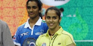 India's two leading singles players Saina Nehwal (right) and P.V. Sindhu may pair up as the second doubles of the Asian Games team event