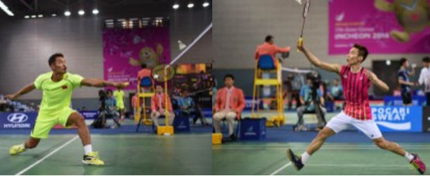 Lin Dan (left) vs Lee Chong Wei in the Asian Games semi-final
